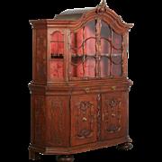 Antique 19th Century French Oak Vitrine Cabinet
