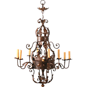 Large Decorative 9 Light Iron Chandelier with Old World Look
