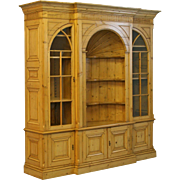 Large Reproduction English Pine Bookcase Display Cabinet