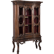 Antique 19th Century French Louis XV Style Glass Front China Cabinet