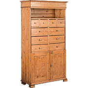 Antique 19th Century Danish Pine Cabinet with Multiple Drawers