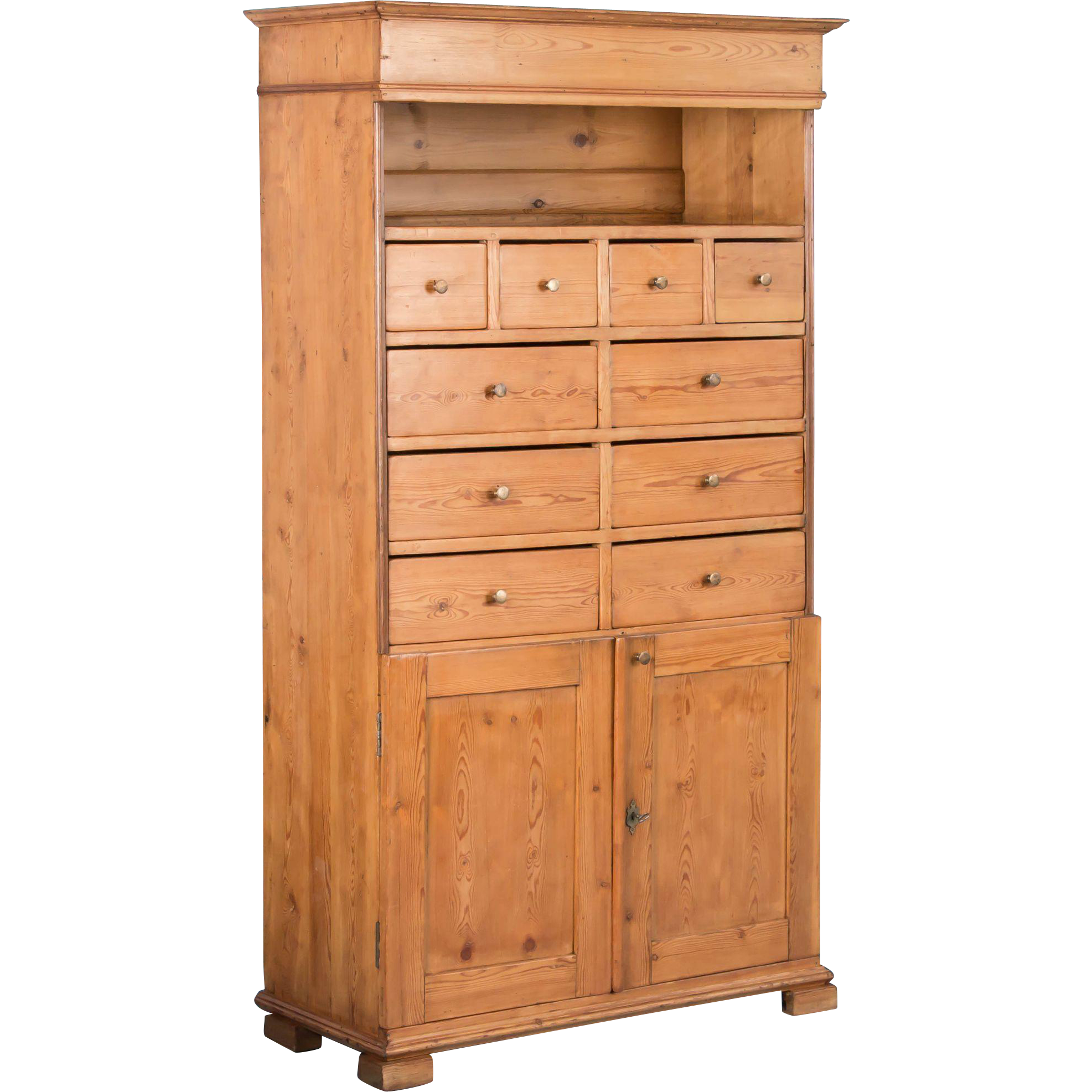 Antique 19th Century Danish Pine Cabinet with Multiple Drawers ...
