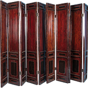 Tall Antique 19th Century Ten Panel Red Lacquer Chinese Folding Screen