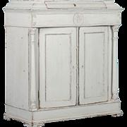 Antique 19th Century Light Gray Swedish Neoclassical Two Door Cabinet