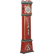 Antique 19th Century Danish Grandfather Clock Painted Red