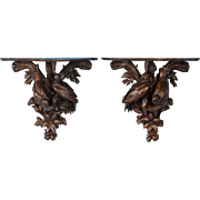 Pair of Antique 19th Century Carved German Black Forest Wall Shelves