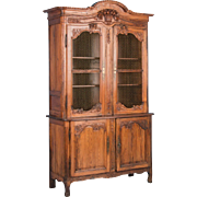Antique 19th Century Hand Carved French Provincial Bookcase Cabinet