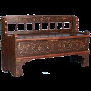 Antique 19th Century Hungarian Storage Bench With Original Folk Art Paint