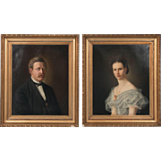 Pair of Antique 19th Century Danish Oil on Canvas Eiler Jorgensen Portraits