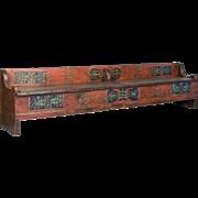 Long Early 20th Century Romanian Storage Bench With Original Folk Art Paint