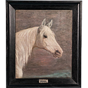 Antique Early 20th Century Original Danish Oil Painting of a White Horse
