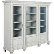Large 19th Century Antique Swedish Bookcase Painted Gray