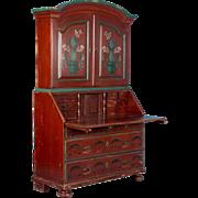 Antique 19th Century Swedish Secretary Bureau Desk With Original Red Paint