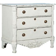 Antique 19th Century Danish Chest of Drawers Painted Gray