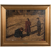 Antique Oil on Canvas Impressionist Painting by Jens Birkholm