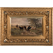 Antique Oil on Board Landscape Painting of Cattle by Edward Gotzelmann