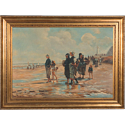 Vintage Oil Painting Seascape of Woman on a Beach with Oyster Baskets by Jose Ricardo