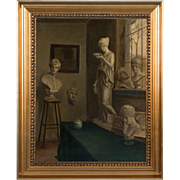 Antique 19th Century Oil Painting of a Sculptor's Studio