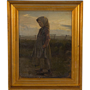 Antique 19th Century Danish Oil Painting of a Farm Girl