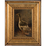 Antique 19th Century Oil Painting of a Goose by Wilhelm Zillen