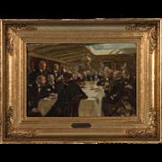 Impressionist Antique Oil on Cardboard Painting by Erik Henningsen