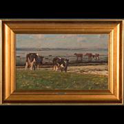 Original Seascape Oil Painting With Cows by Gunnar Bundgaard