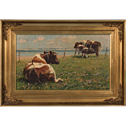 Original Pastoral Landscape Oil Painting With Cows by Gunnar Bundgaard