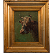 Antique 19th Century Oil on Canvas Painting of a Bull by Michael Therkildsen