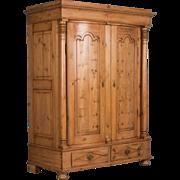 Exceptional Antique Country Pine Biedermeier Armoire