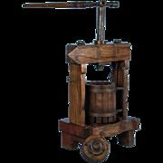 Rare Antique European Oak Wine Press