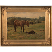 Antique Oil on Canvas Landscape Painting of Horses Return to Paintings
