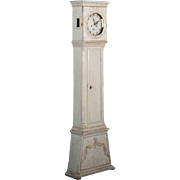 Petite Antique Danish Grandfather Clock With Original Gray Paint