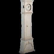 Petite Antique Danish Grandfather Clock With Original Gray Paint