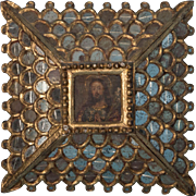 Antique Russian Icon Painting of Christ with Mirrored Frame