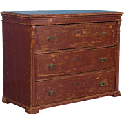 Original Brick Red Painted Chest of Drawers From Hungary, 19th Century Antique