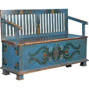 Small Blue Country Folk Art Painted Storage Bench