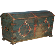 Antique Swedish Folk Art Painted Dome Top Trunk