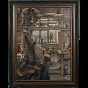 Original Oil on Canvas Painting Potter's Studio by K Scott Iversen, Self Portrait