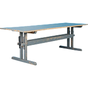 Long Antique Country Pine Trestle Table with Original Gray Paint