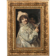 Antique Oil Painting Portrait of Two Young Women in Costume
