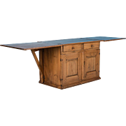 Unusual Antique Pine Cabinet With Drop Leaf Table