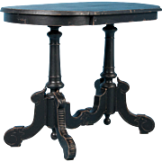 Intriguing Antique Victorian Side Table Painted Black