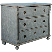 Large Antique Chest of 3 Deep Drawers with Blue/Gray Paint
