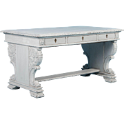 Carved Antique Library Table Desk With White Paint
