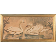Original Antique Danish Watercolor Painting of Swans