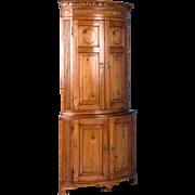 Antique Louis XVI Bow Front Pine Corner Cabinet