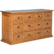 Antique Pine Grocer's Counter / Cabinet From Denmark