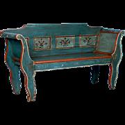 Antique Folk Art Painted Bench From Denmark