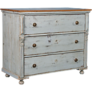 Large Antique Pine Chest of Drawers Painted Gray