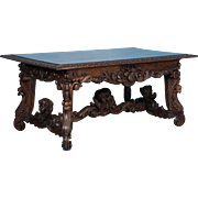 Exceptional Antique Hand Carved French Library Table With Cherubs
